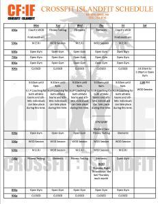 CFIF Schedule
